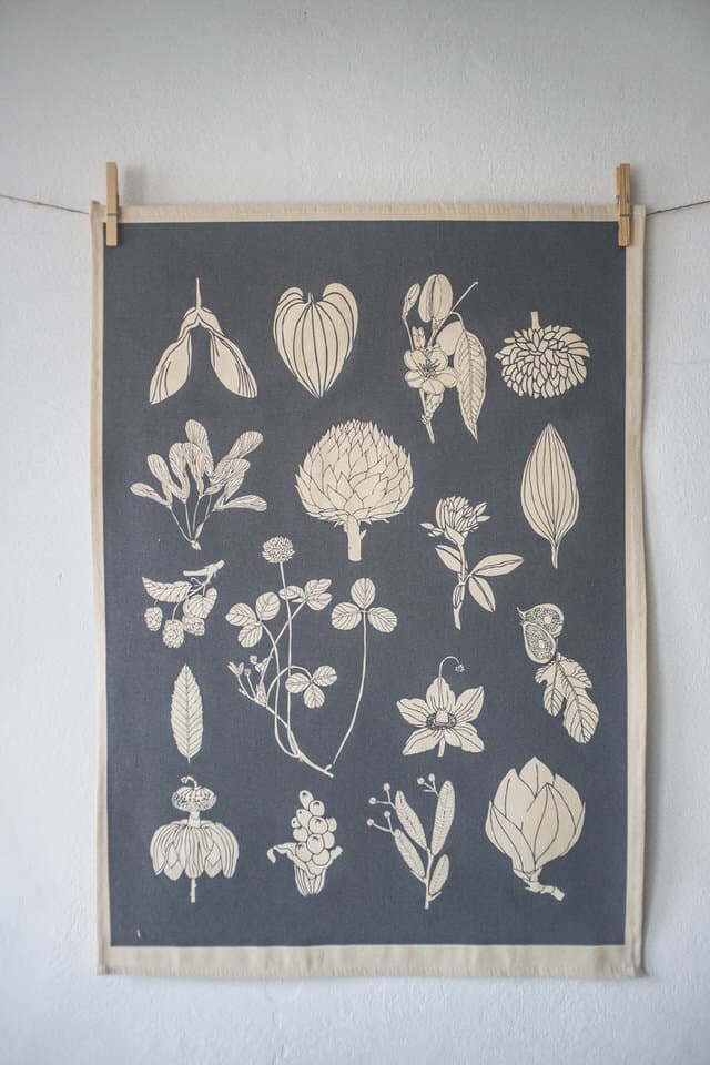 plain product shot of Softer+Wild hand screen printed grey tea towel