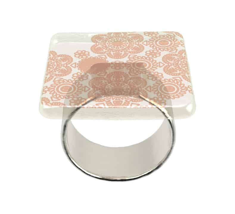 Side on  product shot of Anna Vasilu Susa square napkin holder in cream