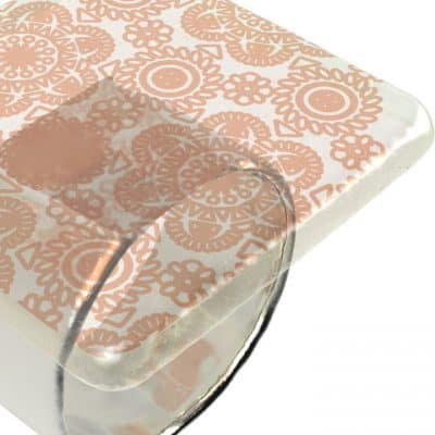Close up angled shot of Anna Vasilu Susa square napkin holder in cream