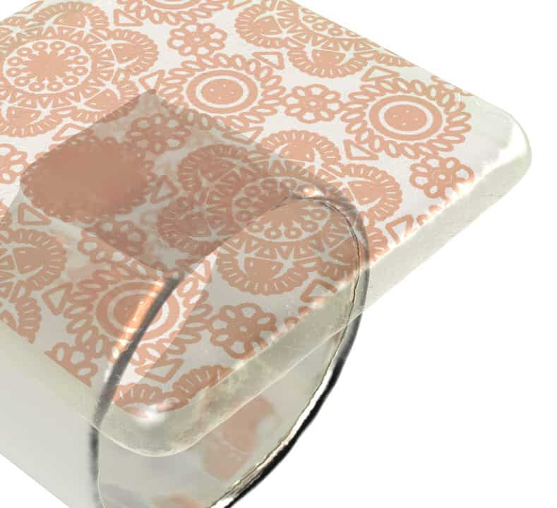 Close up angled shot of Anna Vasily Susa square napkin holder in cream