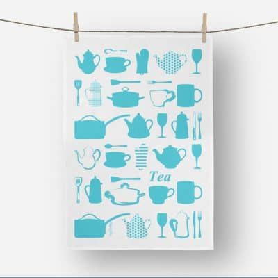 Product shot of Vinyl Design Kitchen Utensils tea towel in blue