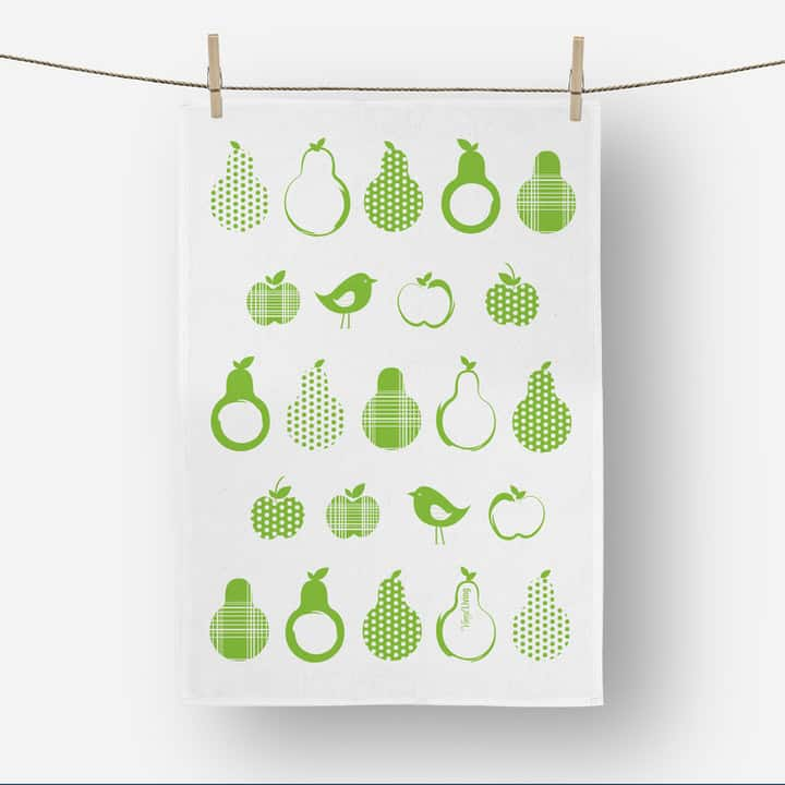 Product shot of Vinyl Design pears green tea towel