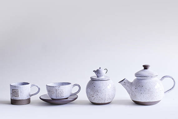 Sofia Ceramics product shot of the base of the Goose egg ceramic tea cup and pot collection 4