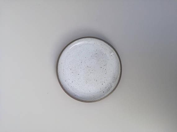 Sofia Ceramics aerial product shot of the Goose egg ceramic dessert plate