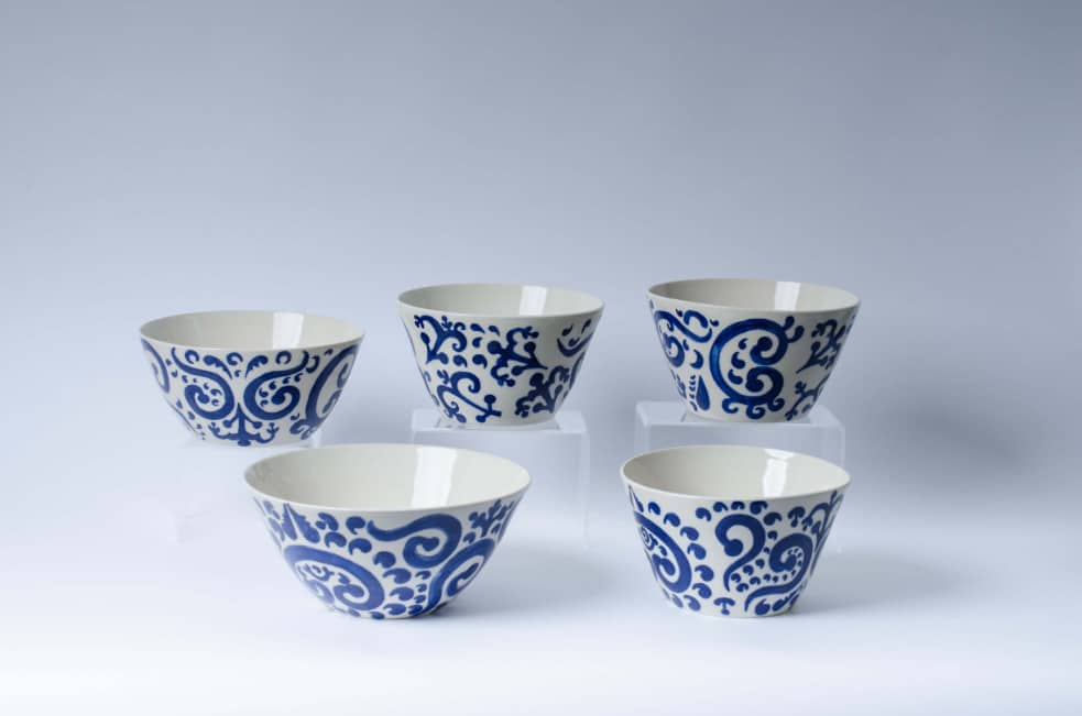 Product shot of the Electric porcelain serving bowls
