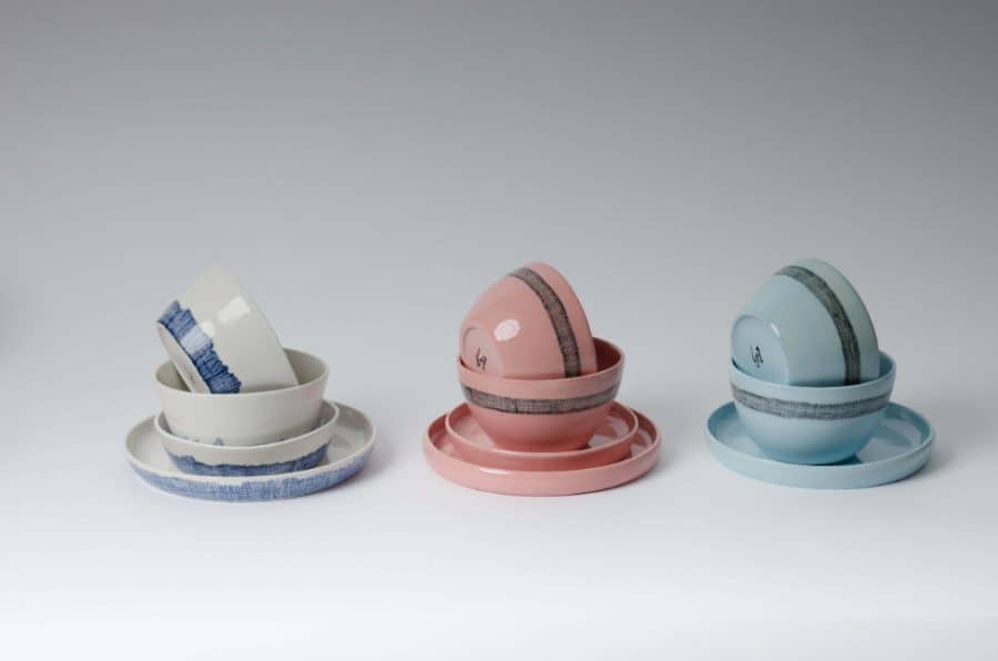 Styled product shot of the Weave Porcelain bowls