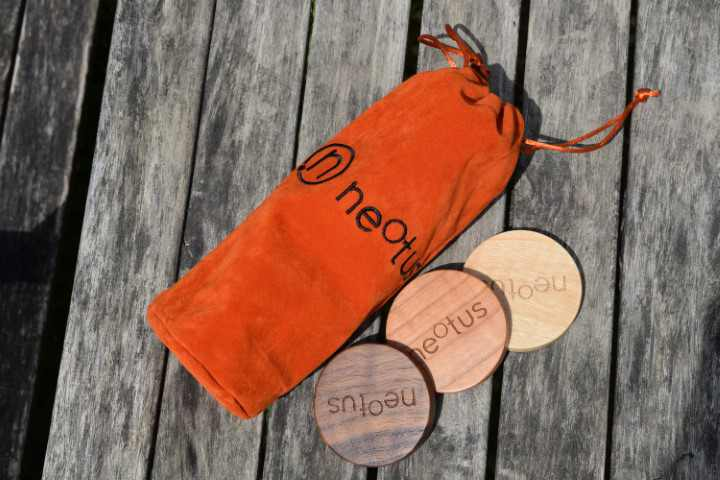 Lifestyle shot of the neotus velvet orange packaging
