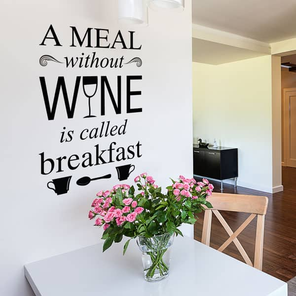 Lifestyle shot of a meal without wine wall decal