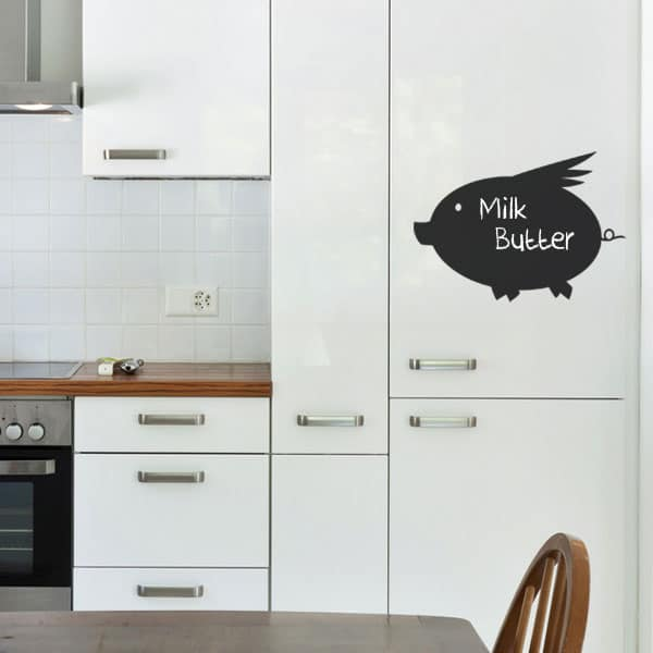Lifestyle shot of the Pig chalkboard wall decal