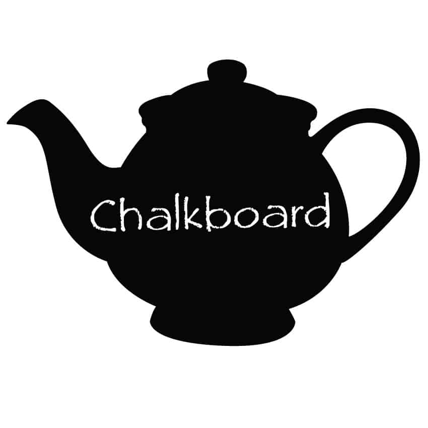 Sample writing on Teapot chalkboard decal