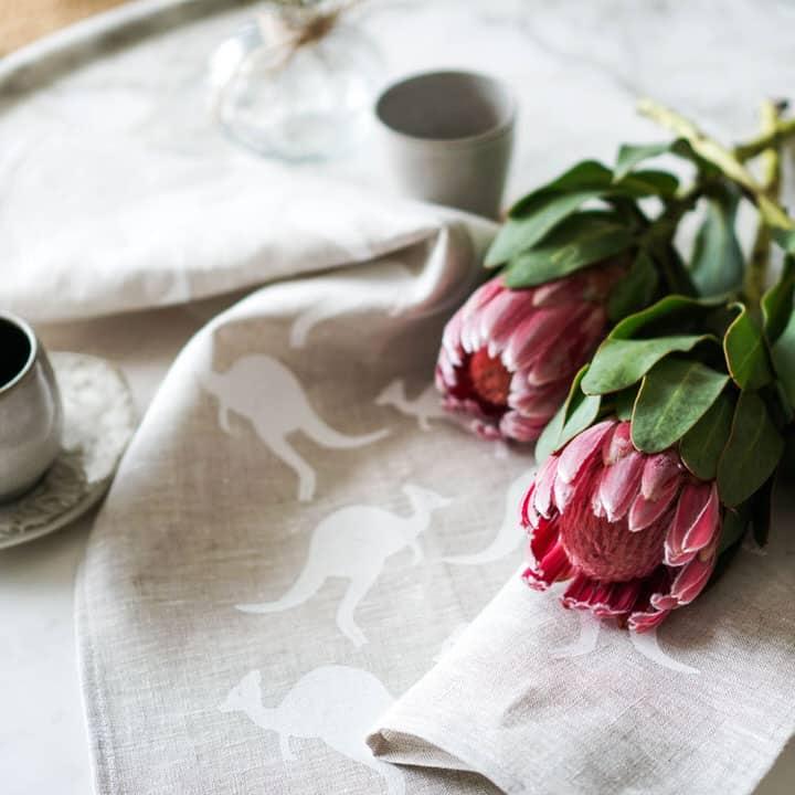 Product shot of Kangaroo Australiana linen tea towel styled image