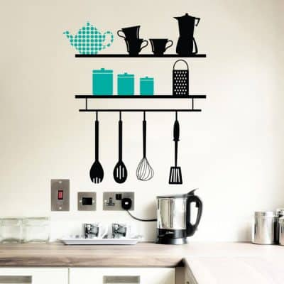 Lifestyle shot of kitchen shelves wall decor decal