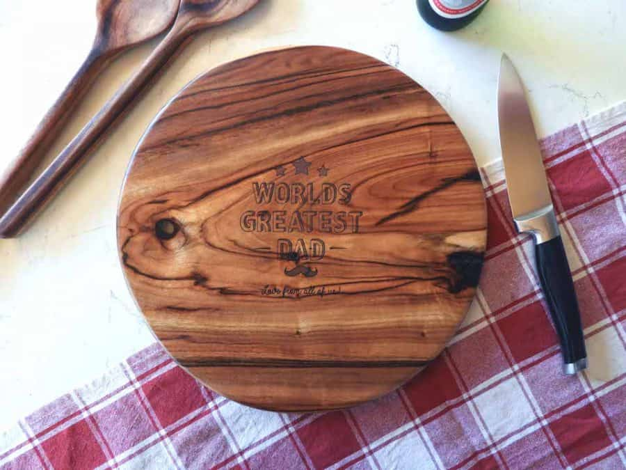 Fathers Day round edge wooden chopping board _aerial hot