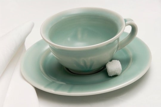 Lifestyle product shot of Sally Gordon handmade ceramic cup saucer