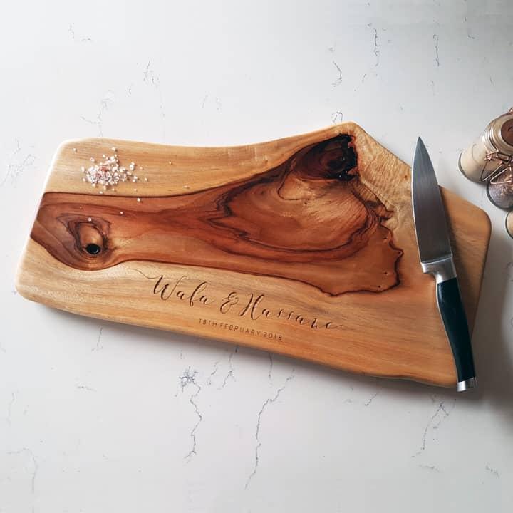 Medium natural edge wooden chopping board