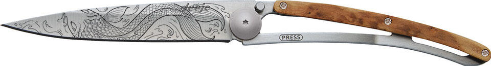 Deejo 'Classic' foldable Pocket Knife_'Fish' side on