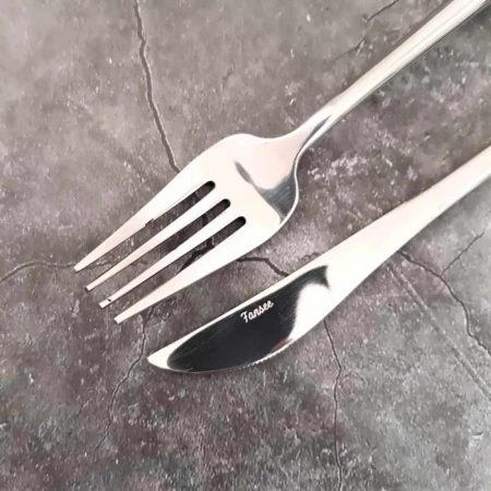 Lifestyle shot of silver cutlery set_fork and knife