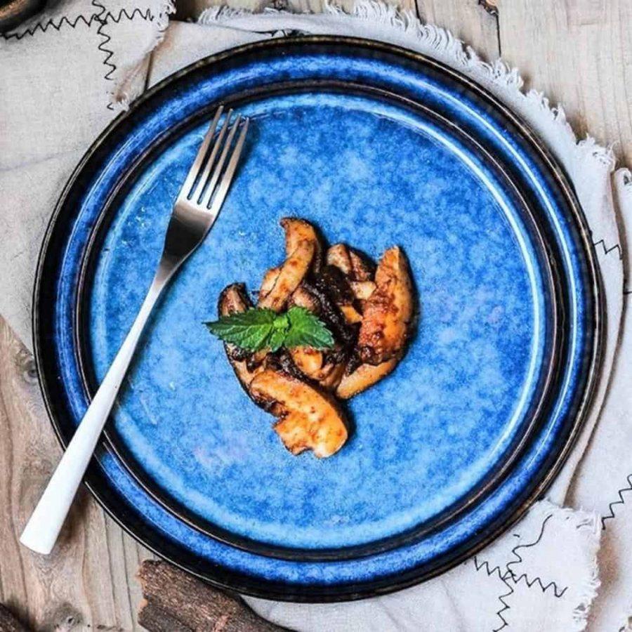 Lifestyle shot of the Australian blue porcelain dinner plates