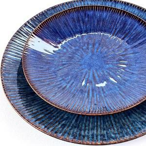Product shot of stacked helix nebula Porcelain Dinner Plates_set of 4