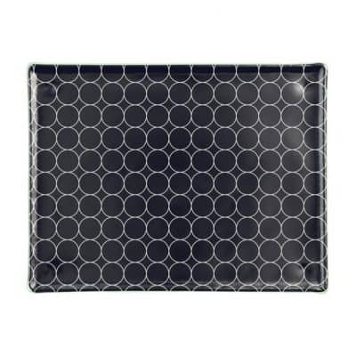 Blue-black glass sushi tray set with pattern for sushi presentation by Anna Vasily.