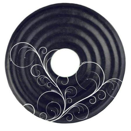 Dark blue round serving platter Selen by Anna Vasily.