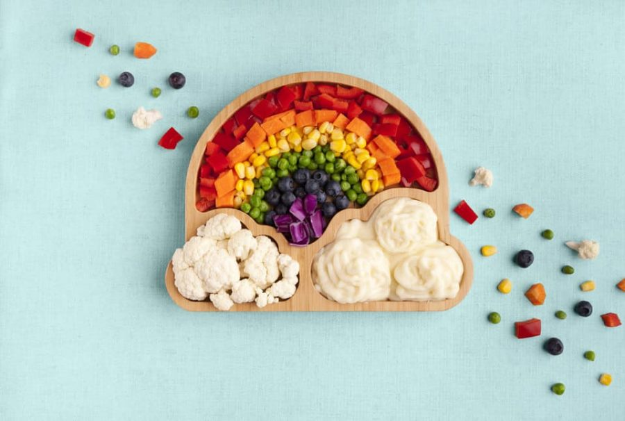 Rainbow kids bamboo dinner plate with colourful veggies