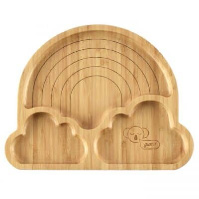 Rainbow kids bamboo dinner plate plain product shot