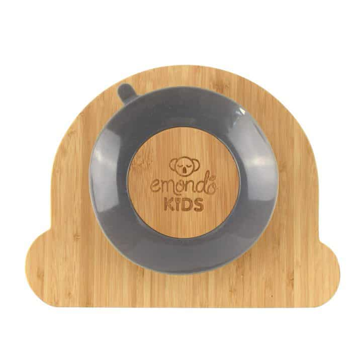 Rainbow kids bamboo dinner plate with suction