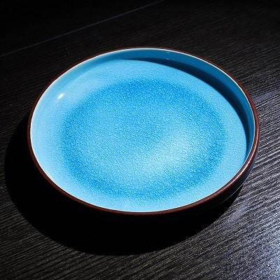 Top view product shot of Lifestyle shot of the Aqua d'Amour Blue Dinner plate