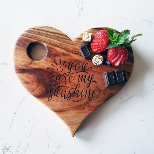 Personalised heart-shaped wooden serving boards
