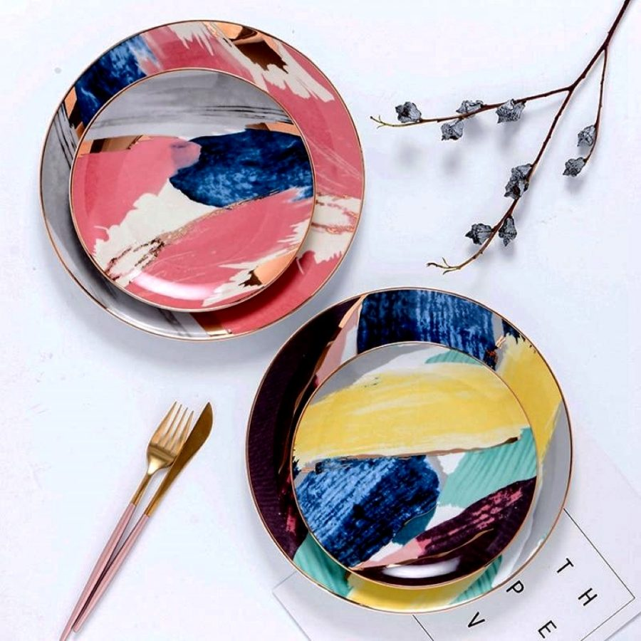 Rêve Dorée-J 4-Piece Dinner Plate Set flatlay with stacked plates