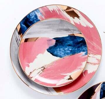 Rêve Dorée-J 4-Piece Dinner Plate Set flatlay with two stacked plates