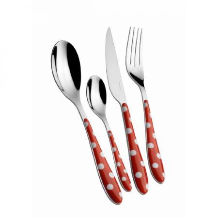 Bugatti Pois 24 piece cutlery set in red